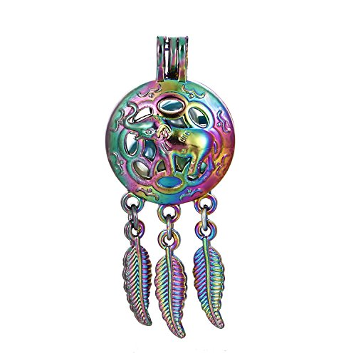 10pcs Colored Lucky Elephant Wish Dream Catcher Bead Cage Locket Pendant-Add Your Own Pearls, Stone, Crystals to Cage, Add Perfume or Essential Oil to Create a Scent Diffusing Locket Charms (Elephant)