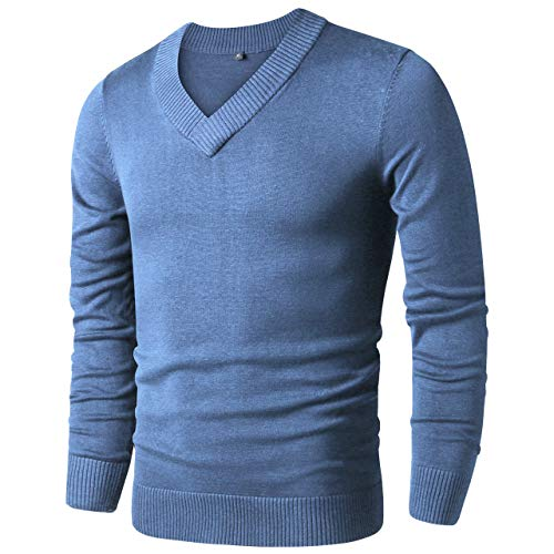 - LTIFONE Mens Casual Slim Comfortably Knitted Long Sleeve V-Neck Pullover Sweaters (Light Blue,XL)