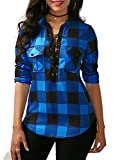 KISSMODA Womens Vintage Tie Neck Chequered Shirts Long Sleeves Blouses and Tops For Work Blue Medium