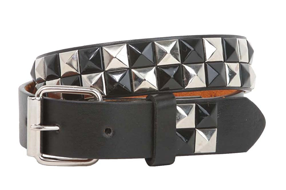 Kids 1 Snap On Punk Rock Black & Silver Star Studded Checkerboard Leather Belt Beltiscool B39