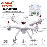 SHY Portable Global Drone X183 With 5GHz WiFi FPV 1080P Camera GPS Headless Quadcopter, Brushless Motor, flying time last to 15-20 minutes, White