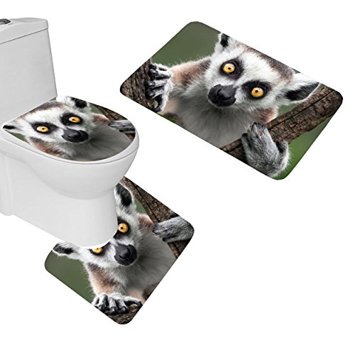 oFloral 3 Pieces Bathroom Rugs Lemur Eyes Animal Branch Bath Mat,One Contour Rug and One Toilet Lid Cover by OFLORAL