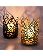 Candle Holder 2pcs Tealight Hurricane Gold Black Outdoor Vintage Votive Candle Holders,Housewarming Gifts for Women Home Decor Living Room Wedding Bathroom Farmhouse Table Decorations Candlesticks