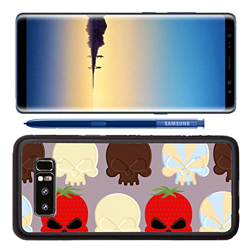 Luxlady Premium Samsung Galaxy Note8 Aluminum Backplate Bumper Snap Case ID: 43128818 Sweet candy skulls seamless pattern Head skeleton made of chocolate and strawberry Background for Halloween