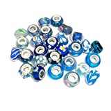 SEXY SPARKLES Pack of 10 Assorted Blue Glass Lampwork Murano Glass Beads for Snake Chain Charm Bracelet