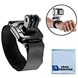 Wrist Strap Mount - 360° Rotating & Locking - for GoPro HERO1 - HERO2 - HERO3 - HERO3+ - HERO4 - HERO4 Session - HERO5 - HERO 6 - Fusion Housings + eCostConnection Microfiber Cloth