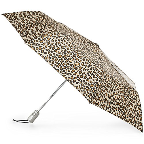 (Totes Automatic Open Close Water-Resistant Travel Folding Umbrella with Sun Protection, Leopard Spot)