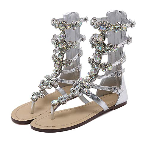 (Stupmary Women's Gladiator Sandals Flat Heels Flip Flops Sandalias Crystal Floral Beach Shoes Silver, 9 M US)