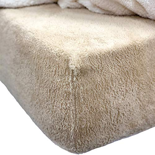Brentfords Teddy Fleece Fitted Bed Sheet Thermal Warm Soft Luxury Cosy Bedding, Plain Latte Taupe - Single (Great John Lewis Plains)