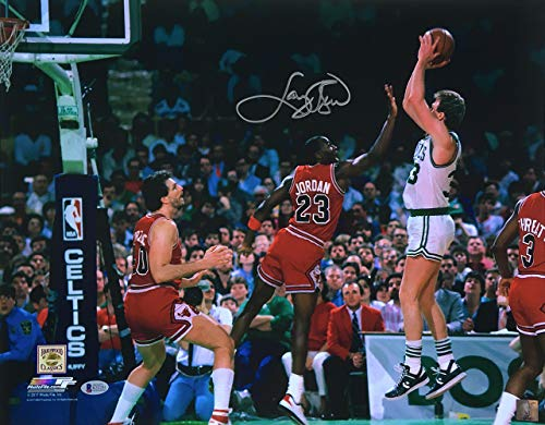 Larry Bird Celtics Signed 16x20 vs Michael Jordan Photo BAS