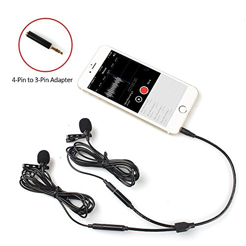 Dual Lavalier Mics-MAONO AU404 Lapel Clip-on Mini Omnidirectional Vocal Condenser Interview Microphones for DSLR Camera, iPhone, Smartphone, Computer, Tablet, Wireless Transmitter, Voice Amplifier