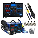 Super Deal 2 in 1 SMD Soldering Iron Welder 862D+ Hot Air Gun Rework Station LED Display W/4 Nozzle (862D)