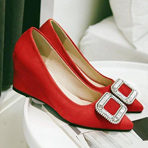 Profonde Rouge Moyen Talons Printemps escarpins Bouche Noir Femmes 6cm Gommage Chaussures Pente Hauts Gris pour Rouge Peu Talon HAzWTq