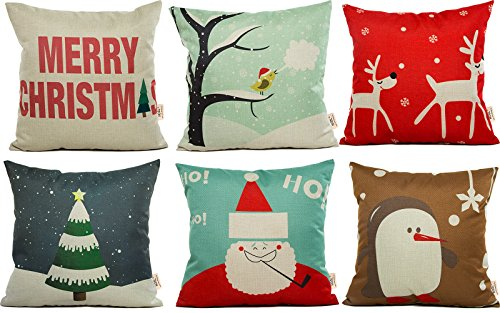 HOSL SD21 Merry Christmas Series Blend Linen Throw Pillow Case Decorative Cushion Cover Pillowcase Square 18″ – Set of 6