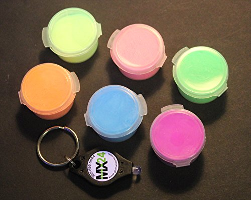 Glow in the Dark Daytime Visible Pigment Powder 6 Color Set 10 Grams Each by GloMania