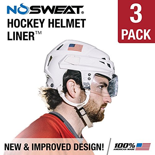 No Sweat Hockey Helmet Liner -- Moisture Wicking Sweatband Absorbs Dripping Sweat | Helps Prevent Acne, Reduces Fogging / Anti-Fog - (Hockey Players / Officials and Referee) (3 (Hockey Helmet Shields)