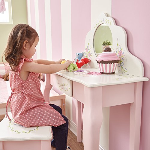 Fantasy Fields - Bouquet Thematic Kids Classic Vanity Table and Stool Set with Mirror | Imagination Inspiring Hand Crafted & Hand Painted Details   Non-Toxic, Lead Free Water-based Paint by Teamson Design Corp (Image #3)