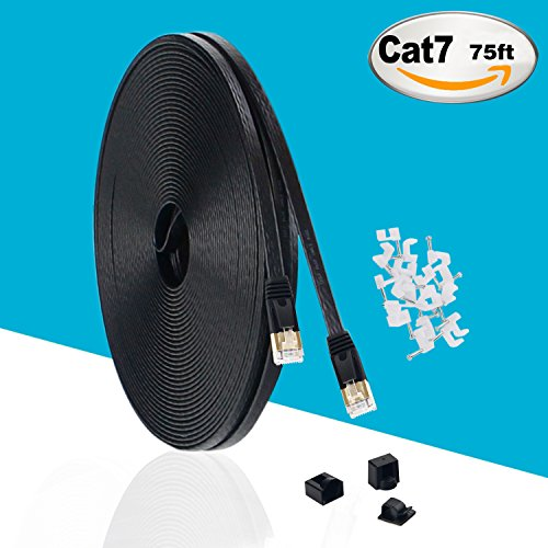 MKDGO Cat 7 Ethernet Cable 75ft Black 10GB Fastest Shielded (STP) Computer Internet Cable - Flat LAN Network Cable with Snagless RJ45 Connectors (22.8m/75ft,Black,1Pack)