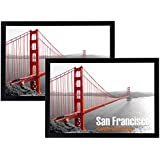 Frametory, 13x19 Black Poster Frame -Set of 2 - Wall Display, Landscape or Portrait, Hinged Sawtooth Hangers, Swivel Tabs - Acrylic Cover, Smooth Molding - Great for Art Prints, Photos, and Pictures