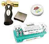 ImpressArt 3mm Metal Stamping Kit with Hammer, Steel Block, Stamp Straight Tape - Juniper Uppercase