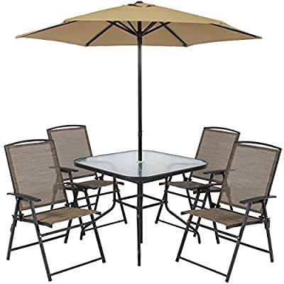 Best Choice Products 6pc Outdoor Folding Patio Dining Set W/ Table, 4 Chairs, Umbrella and Built-In Base