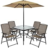 Best Choice Products 6pc Outdoor Folding Patio Dining Set W/Table, 4 Chairs, Umbrella and Built-in Base For Sale