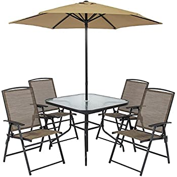 patio dining set swivel chairs martha stewart home depot outdoor on sale best choice products folding table umbrella built in base