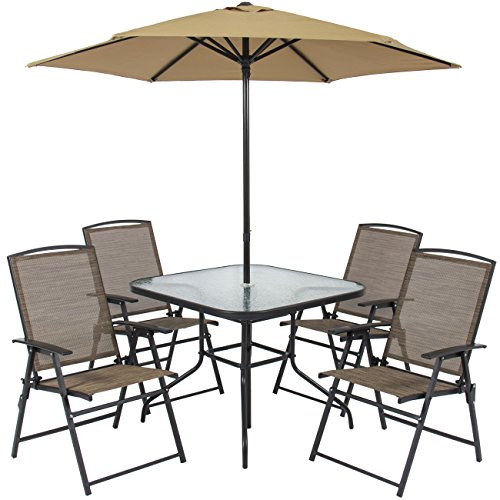 Best Choice Products 6-Piece Outdoor Folding Patio Dining Set w/Table, 4 Chairs, Umbrella, and Built-in Base -Tan