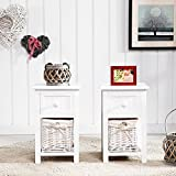 SUNCOO Small Cute Vintage Wood Chic Nightstand End Side Bedside Wicker Storage Set of 2 with Drawer and Baskete 12x11x17.7'
