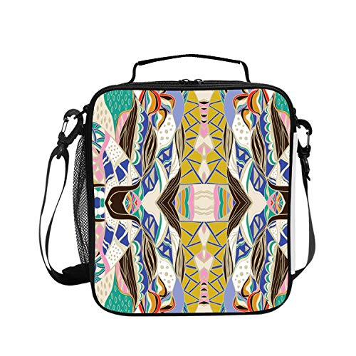 Levendem Lunch Bag Insulated Lunchbox Cooler Pouch Shopper Tote Traditional Ornamental Paisley Bandanna Portable Fashion Cover School Work ()