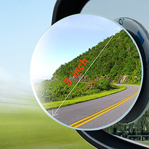 3R Blind Spot Mirror Large 3 inch Frameless Stick On Round Car Rear View Convex Mirror HD Glass adhesive Round Auto Side View Mirror for Car Truck SUV Motorcycle (75mm, (Round Convex Glass)