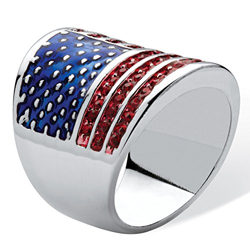 Silver Tone Round Simulated Red Ruby and Enamel American Flag Ring