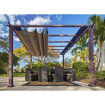 Paragon Outdoor PR11WD2C Backyard Structure Soft Top With Chilean Ipe Frame  Valencia Pergola, 11u0027 X 11u0027, Cocoa
