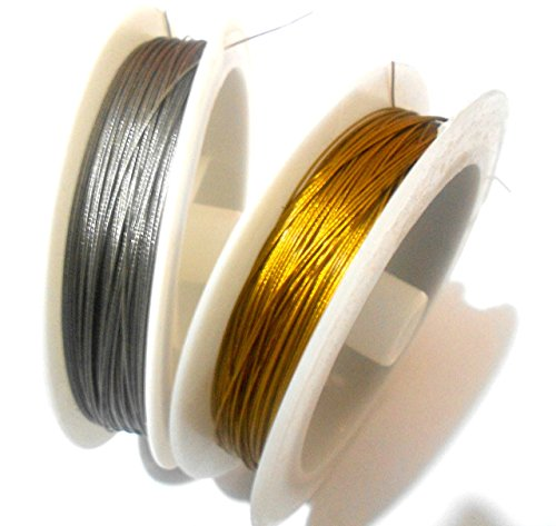 GOELX Tiger Tail Wire Nylon coated Gold & Silver For Beading Stringing Jewellery Pack Of (Tiger Tail Cord)