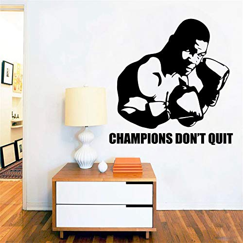 huandu Quotes Wall Sticker Mural Decal Art Home Decor Mike Tyson Gym Sport Quote Kids Room Decoration Boxing Art for Boys Bedroom Gym -