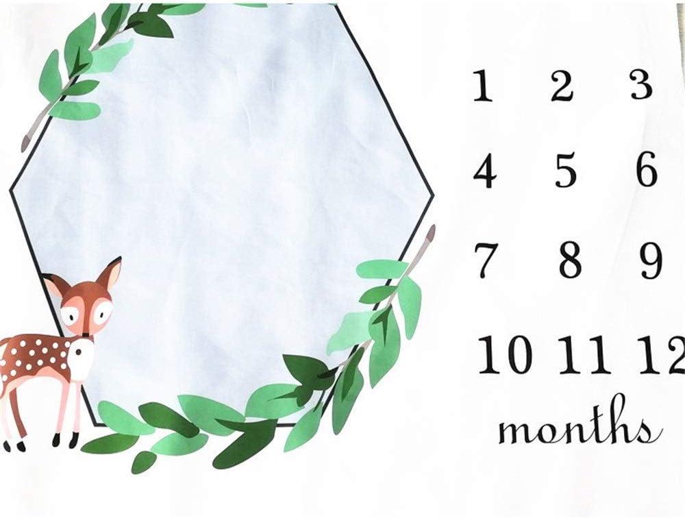 Manta de fotografía para bebé Linda caricatura Fawn Pattern Hito manta Verde Hoja Guirnalda Crecimiento mensual Alfombra de foto Regalos de ducha Alfombra for niñas y niños Nueva mamá Con juguetes mar