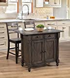 Bar Stools Near Me Sunset Trading DLU-KI-4222-B200-AG3PC Shades of Gray Kitchen Island Set, Weathered