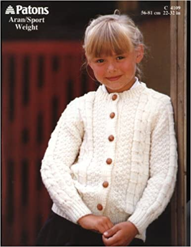 f63f7f77bc3ed6 PATONS 4109 knitting pattern GIRLS ARAN CARDIGAN (22-32in) Paperback – 2000