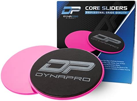 DYNAPRO Core Exercise Sliders Set of 2 Smooth Gliders Dual-Sided Design Professional Quality Ab Glider Workout Discs Portable Fitness Glide Disc for Carpet, Hardwood, Other Floors