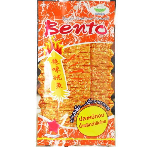 Bento Squid Seafood Snack Thai Original Chili Paste Flavor So Hot Wt 24G (0.85 Oz) X 5 Bags