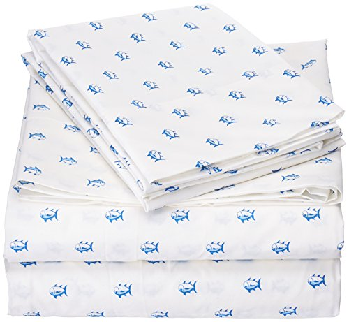Price comparison product image Southern Tide Printed Cotton Sheet, Full, Skipjack White