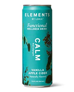 Elements Calm with Adaptogens, Naturally Flavored Wellness Drink, Vanilla Apple Cider, 11.5 Ounce Cans, 12-Pack