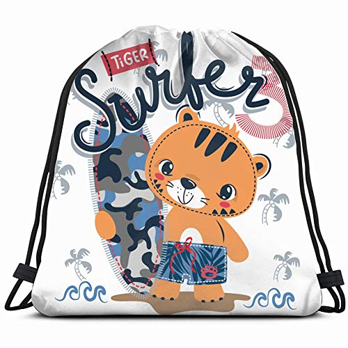 (happy cute tiger cartoon holding surfboard animals wildlife sports recreation Drawstring Backpack Bag Gym sack Sport Beach Daypack for Girls Men & Women Teen Dance Bag Cycling Hiking Team Training 17)