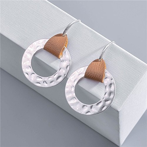 Charm Party Gift J Meng Copper Circle Leather Geometric Silver Color Plated Uneven Surface Round Earrings