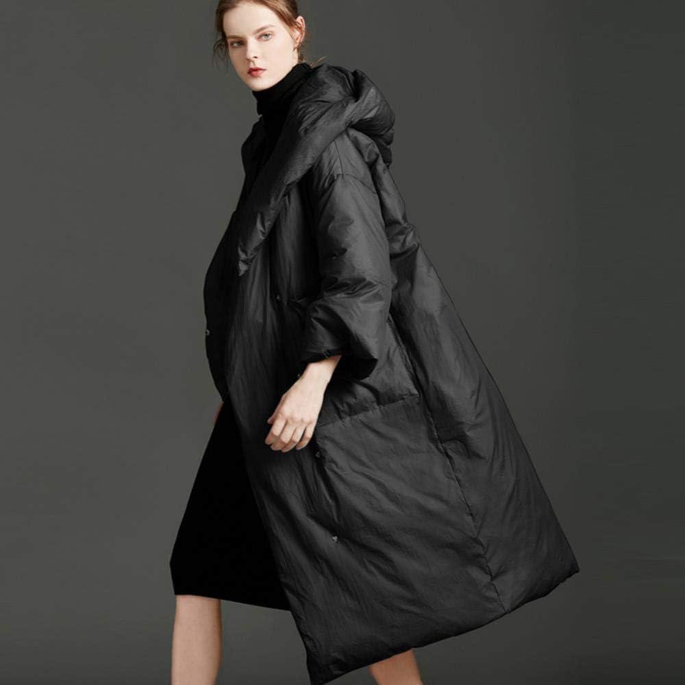 A-gavvzq Manteau en Duvet de Canard d'hiver Doudoune pour Femmes en Veste de Neige Ample avec Longue Capuche Chaude et Chaude pour Femmes Black
