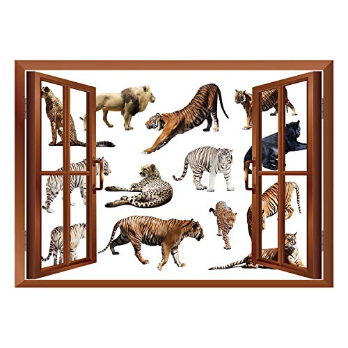 SCOCICI Peel and Stick Fabric Illusion 3D Wall Decal Photo Sticker/Safari Decor,Collection of Tigersand Other Big Wild Cats Predatory Feline Zoo Lying Standing Background,/Wall Sticker Mural