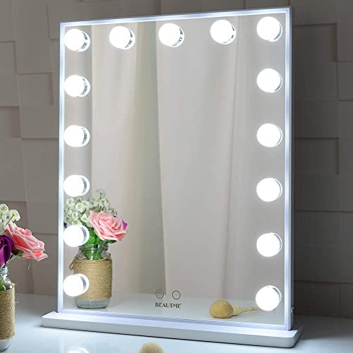 BEAUTME Hollywood Makeup Vanity Mirror with Lights,Bedroom Lighted StandingTabletop Mirror,LED Cosmetic Beauty Tabletop Mirror with 15 Dimmable Bulbs, Wall Mounted Lighting Mirror 4251-White