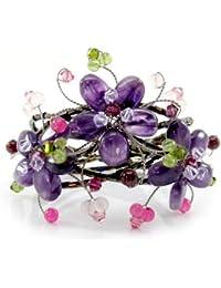 MGD, Purple Floral / Flowers Cuff Bracelet from Amethyst, Peridot and Rose Quartz and Swarovski Crystals, Adjusable Wrap Bracelet, Beautiful Handmade Fashion Jewelry for Women, Teens Girls, JA-0113B