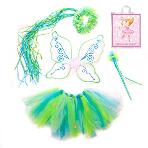 [Green, Blue, Yellow and Pink Woodland Fairy Princess Set Plus Our Gift Bag] (Dress Up Fairy Wings)