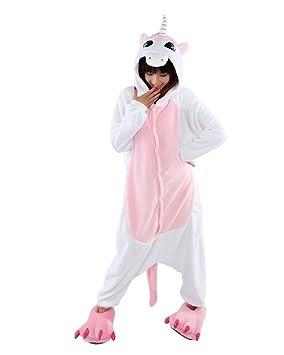 Kigurumi pijama animales, cosplay traje rosa unicornio, talla M